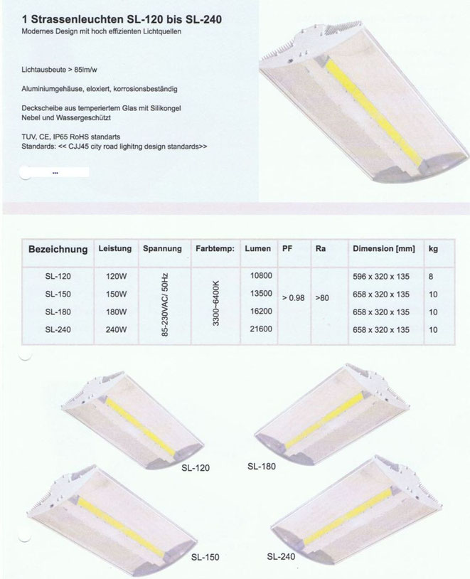 LED Strassenleuchte SL-120 bis SL-240