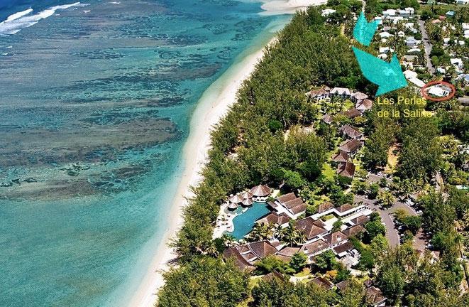 Vue aérienne de l'hôtel Lux incluant la résidence Les Perles de la Saline