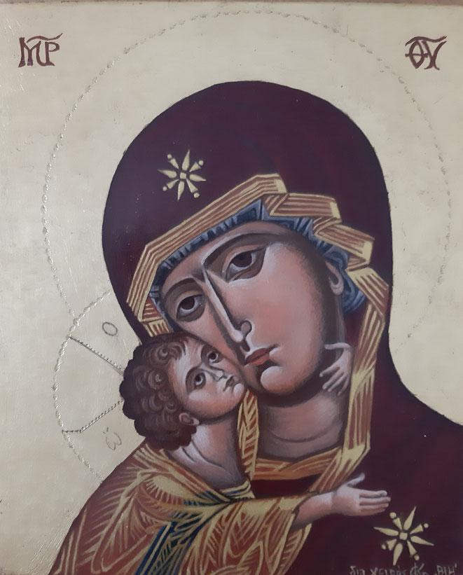 Madonna nach einer Ikone von Vladimir auf Holztafel 25 x 30 cm gemalt im Jahr 2018