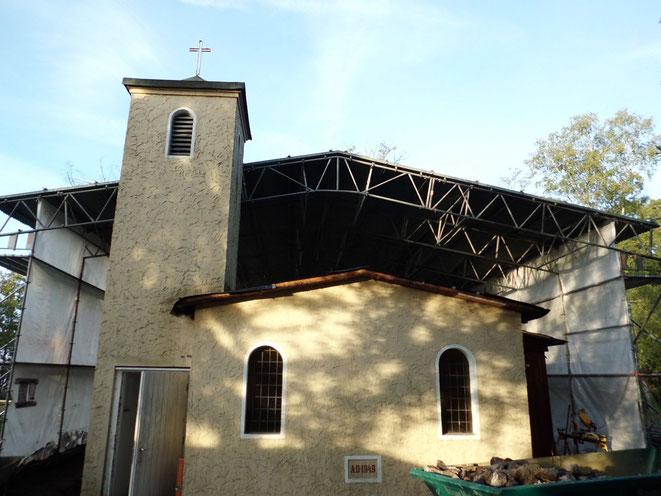 Schloß Holte, Polizeischule. Errichtung einer Winterbauhalle als Kassettendach.