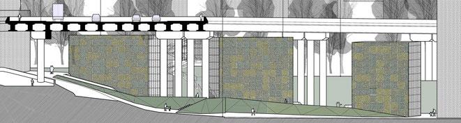 Alzado desde la calle de la propuesta de Green Wall