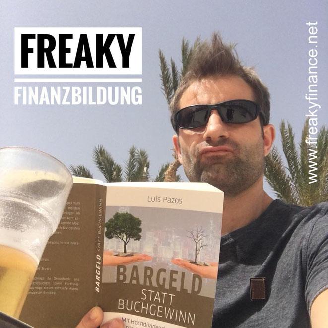 freaky finance, männliche Person mit Sonnenbrille liest ein Buch, Bargeld statt Buchgewinn, Hochdividendenwerte