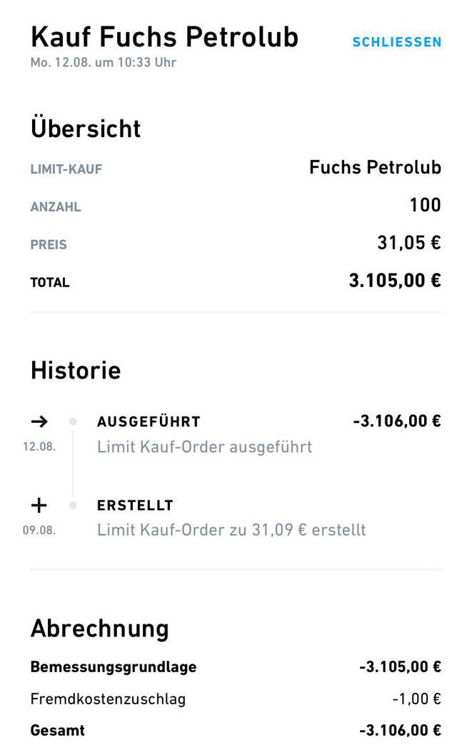frealy finance, Trade Republic, Aktienkauf Fuchs Petrolub