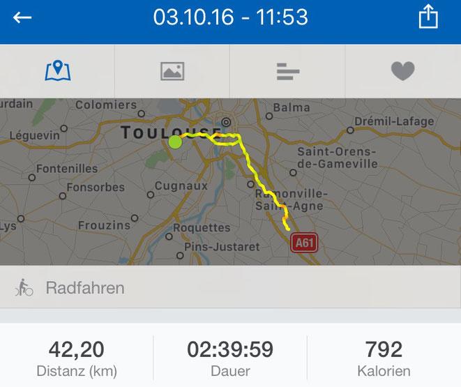 freaky running, Canal du Midi, runtastic, Radfahren, trainieren