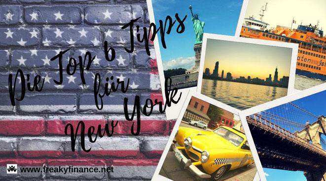 freaky finance, freaky travel, Gastartikel, New York TOP 6 must-dos, New York Straße in Hochhäuserschlucht, Städtereise, Reisetipps, Sehenswürdigkeiten, Freiheitstatur, Taxi, Street, Flagge, Fähre