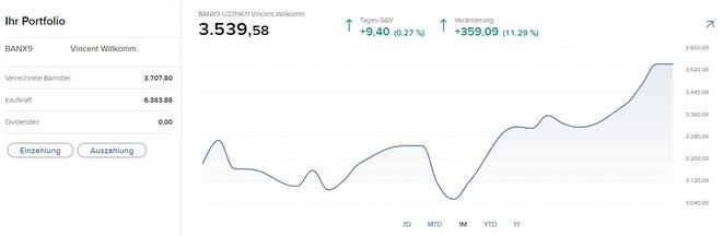 freaky finance, Interactive Broker Kontoverwaltung, Startseite, Ihr Portfolio, 1 Monatschart
