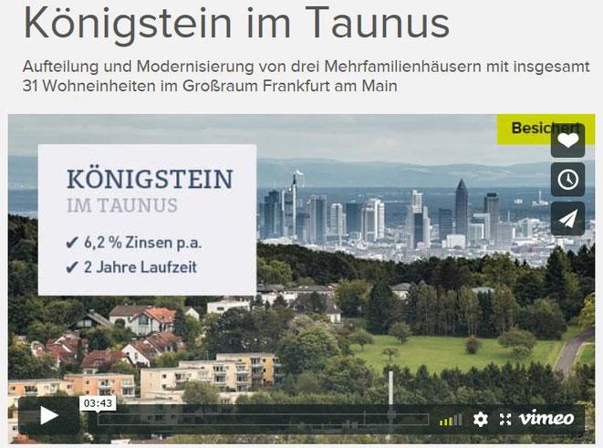 freaky finance, Crowdinvestiment, Crowdinvesting, Bergfürst, Projekt Königsstein im Taunus, Screenshot