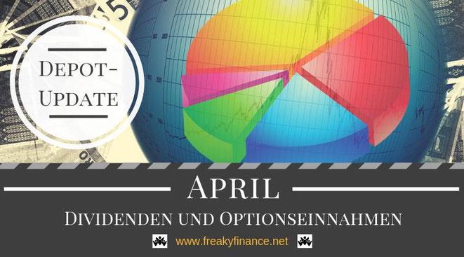 freaky fnance, Dividenden und Optionseinnahmen, Optionsprämien und Depotbewegungen, April 2019, Tortendiagram, Lupe