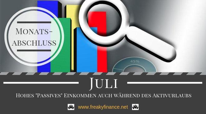 Der freaky finance Monatsabschluss Juli 2019. Erfahre mehr über meine Einnahmen durch Zinsen, Mieten und alternative Investment. Nimm mit mir gemeinsam mein Gesamtvermögen unter die Lupe.