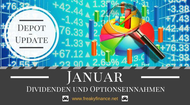 freaky finance, Dividenden und Optionseinnahmen, Optionsprämien und Depotbewegungen, Januar 2021, Tortendiagram, Lupe