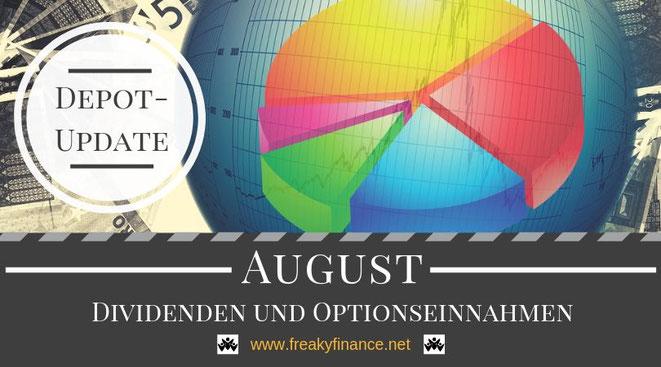 freaky finance, Dividenden und Optionseinnahmen, Optionsprämien und Depotbewegungen, August 2019, Tortendiagram, Lupe