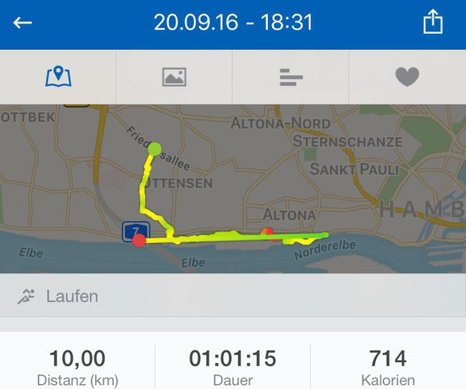laufen, 10km, Elbe, Elbblick, runtastic, Hamburg