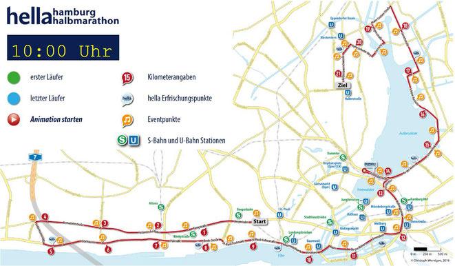 freaky finance, freaky running, freaky routine, Hamburg Halbmarathon, Streckenplan