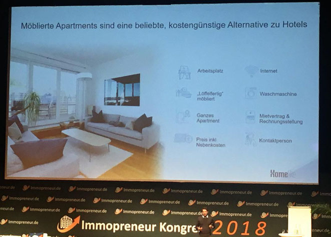 freaky finance, Immopreneur Kongress 2018, Hauptbühne, Darmstadtium, Homelike, Möblierte Apartments als kostengünstige Alternative zu Hotels
