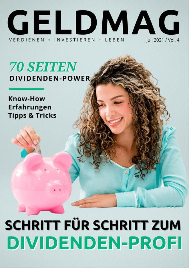 freaky finance, GELDMAG, Geldmagazin, Blogparade, Dividenden, Dividendenstrategie, alles über Dividenden, Frau steckt einen Geldschein in ein Sparschwein