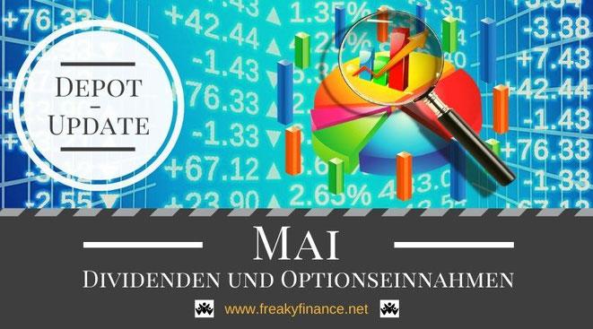 freaky finance, Dividenden und Optionseinnahmen, Optionsprämien und Depotbewegungen, Mai 2021, Tortendiagram, Lupe