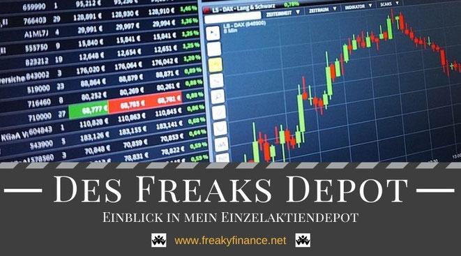 freaky finance, Depot, Einzelaktiendepot von freaky finance, Depotaufstellung, Candlestick Chart und Kurstafel