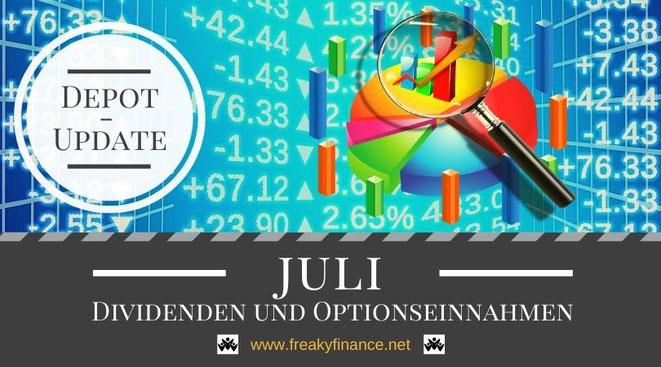 freaky finance, Dividenden und Optionseinnahmen, Optionsprämien und Depotbewegungen, Juni 2021, Tortendiagram, Lupe