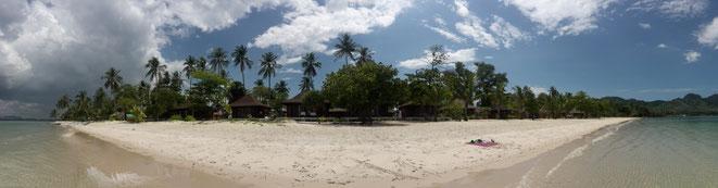 freaky finance, freaky travel, Panorama, Koh Mook, Thailand, Stand, Meer, Sonne, Palmen, Strandhütten