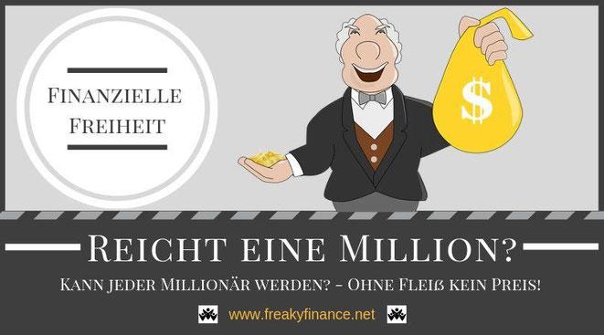 freaky finance, kann jeder Millionär werden? Reicht eine Million? Wozu braucht man ein großes Vermögen? männliche Comicfigur mit einem Geldsack in der Hand