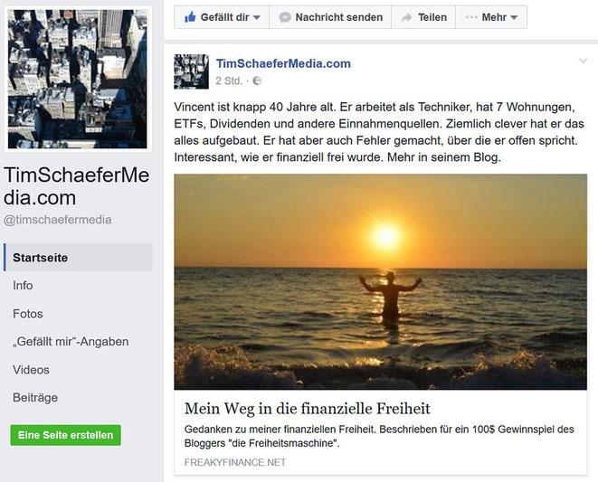 feaky finance, Tim Schäfer, Mein Weg in die finanzielle Freiheit, Facebook-Post
