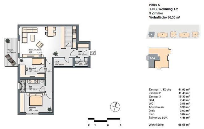 3-Zimmer-Wohnung mit einer Wohnfläche von 96,55 qm.
