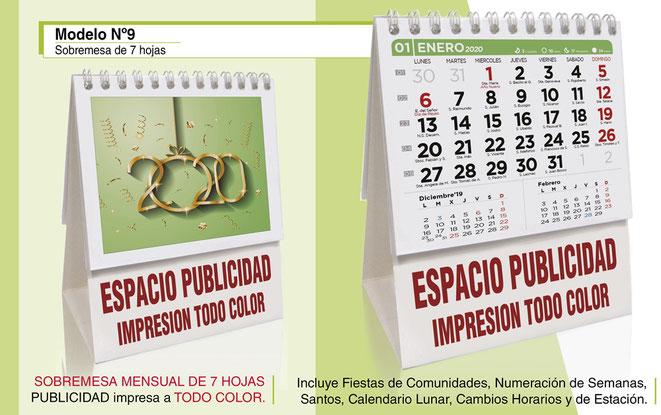 Calendario sobremesa publicitario de 7 hojas