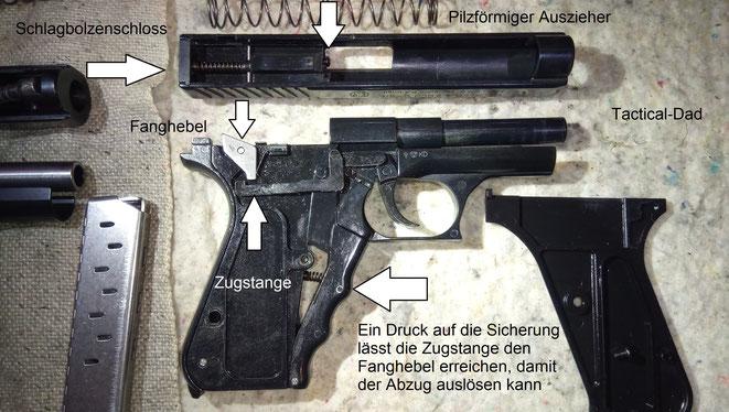 Ein großer technischer Unterschied zwischen der SP9 und der P7 ist, dass die SP9 lediglich eine Griffsicherung und keinen Griffspanner hat.