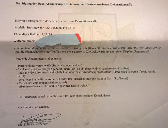 ZIB Militaria Deko Zertifikat für meine Typ 56 AK. Hebt diese Zertifikate gut auf.
