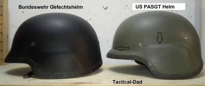 Der Bundeswehr Gefechtshelm von Schuberth und der US PASGT Helm, sind auf den ersten Blick nur schwer zu unterscheiden. Der PASGT Helm hat aber etwas deutlichere Kanten (Pfeile) und ist im Nacken weiter ausgeschnitten.