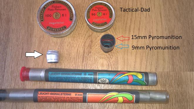 Die Abschussbecher der RG3s sind meist (es gab unzählige Varianten) für 9mm und 15mm Pyromunition geeignet. Leuchtmunition hat leider die Eigenschaft sich oft im Laufe der Jahre auszudehnen und sind dann nicht mehr zu gebrauchen.