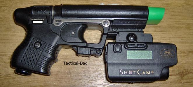 Burris Shocam am JPX Tierabwehrgerät montiert.