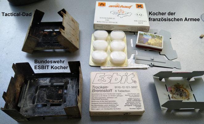 Es gibt viele unterschiedliche ESBIT Kocher, die beiden links sind von der Bundeswehr, der rechts von der französischen Armee.
