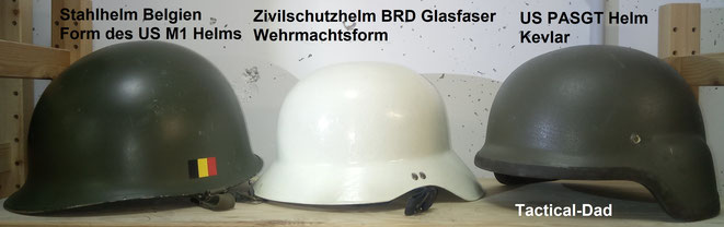 Weil jeder mit militärischen Helmen etwas verbindet, wirken sie seltsamerweise politisch.  Es wird keine Helme geben, die weltweit so viel kopiert wurden, wie die Form des US M1 und des Wehrmachts Stahlhelmes.