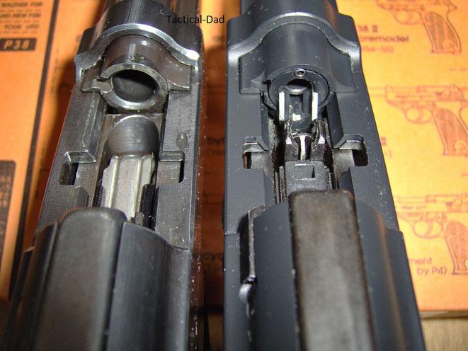 Blick in die Patronenlager der beiden P38. Die scharfe Pistole links und die Airsoft Pistole rechts.