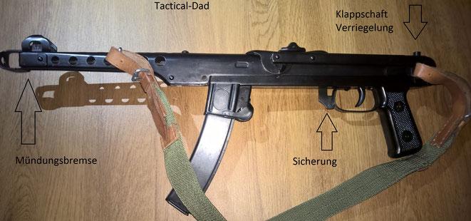 Die PPS-43 ist sehr einfach und günstig gefertigt aus Blechprägeteilen.