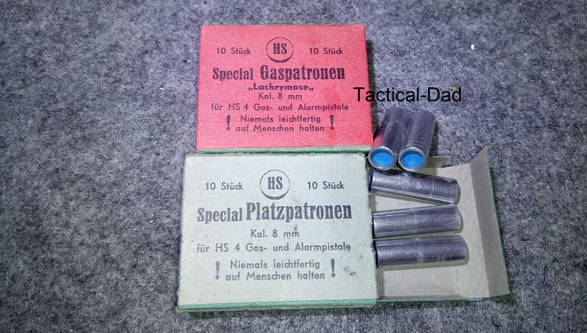 Gas- und Platzpatronen, speziell für die HS Pistole gefertigt.