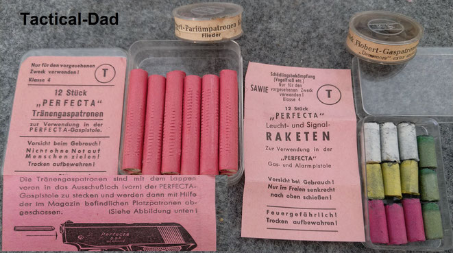 Perfecta 7mm Tränengaspatronen, 7mm Raketen, 6mm Parfümpatronen und Gaspatronen.
