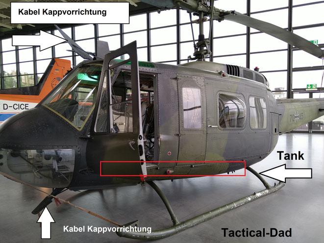 Im Hubschrauber befindet sich oben der Rotor und unten meist der Tank. In welche Richtung hälst Du dein Gewehr?