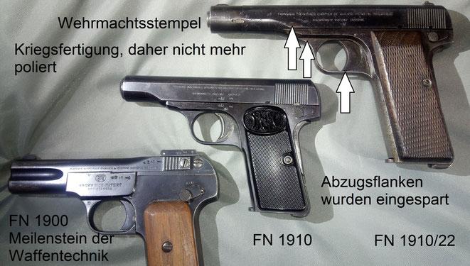 FN 1900, 1910 und 1910/22. Für etwa 50 Jahre dominierten die diversen FN Pistolen von der Baby bis zur High Power den Weltmarkt.