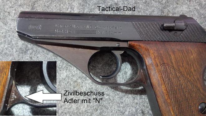 """Meine Mauser HSc hier ist eine zivile Waffe. Sie werden auch """"wartime commercial"""" genannt. Gerade diese Waffen werden oft nachträglich mit Wehrmachtsabnahmen gefälscht, um mehr Geld dafür zu bekommen."""