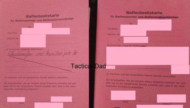 """Die WBK für Waffensachverständige wird meist für """"Waffen und Munition aller Art"""" ausgestellt und ist sehr schwer zu bekommen (links). Die rote WBK für Sammler wird meist stark eingeschränkt und ist wesentlich leichter zu bekommen."""