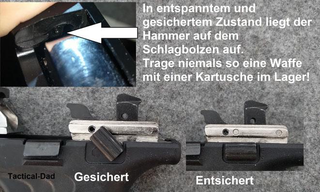 Schreckschusswaffen mit innen liegendem Hammer, ohne Entspannfunktion und Sicherheitsrast, darf man niemals mit einer Kartusche im Lager führen!
