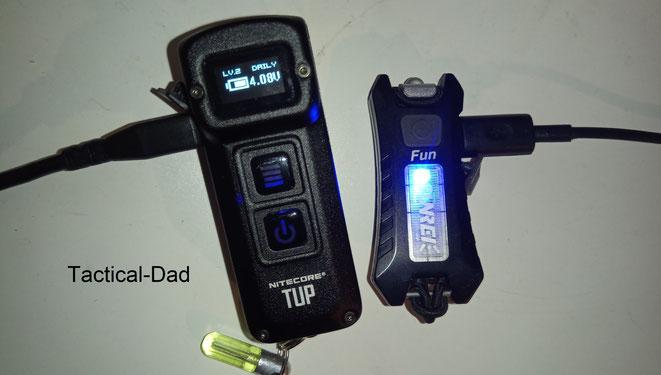 Die Nitecore TUP hat ein Display wo einem der Akkustand und die verbleibende Laufzeit für die jeweilige Leuchtstärke angezeigt wird.