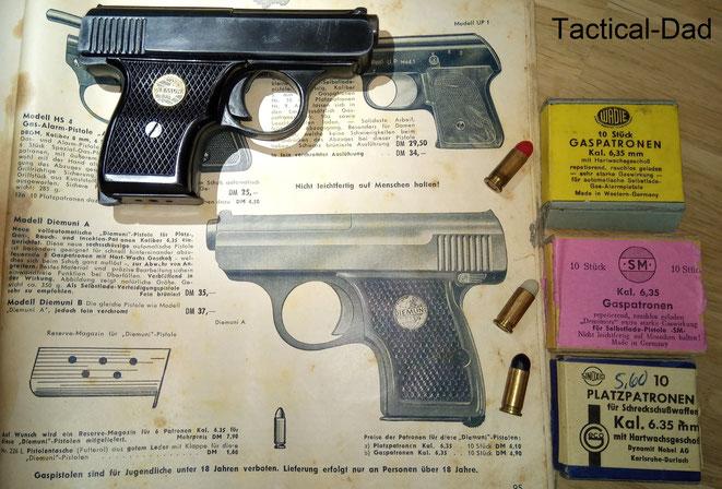 Bis 1969 wurden SSW auch im Kaliber 6,35mm hergestellt. Die Patronen hatten Wachsgeschosse.  Vor dem 2. Weltkrieg gab es für die Menz Pistole aber auch Munition mit Papiergeschossen.