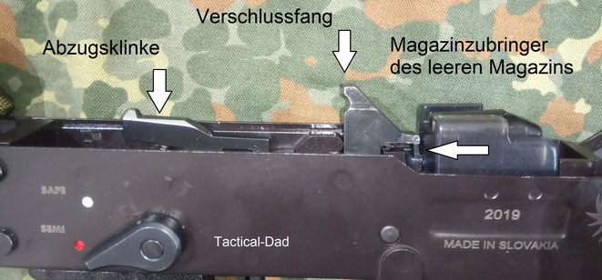 Der Sicherungshebel ist flacher und geht etwas schwerer als die von G36, G3 und Co. Das hat aber auch Vorteile für praktische Nutzer, denn die weit abstehenden Hebel lösen sich schnell mal selbstständig, wenn die Waffe z.B. auf dem Rücken getragen wird.