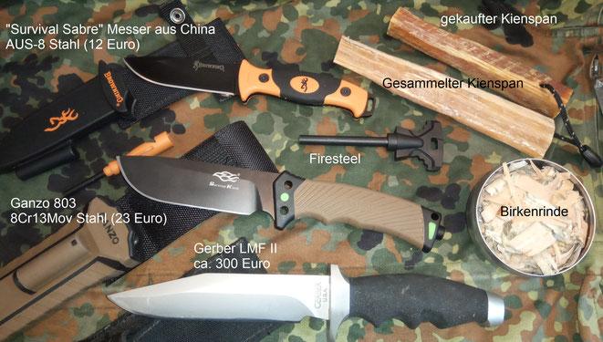 """""""Survival Sabre"""" Überlebensmesser (Browning Kopie), Ganzo 803 Überlebensmesser und das originale alte Gerber LMF II."""