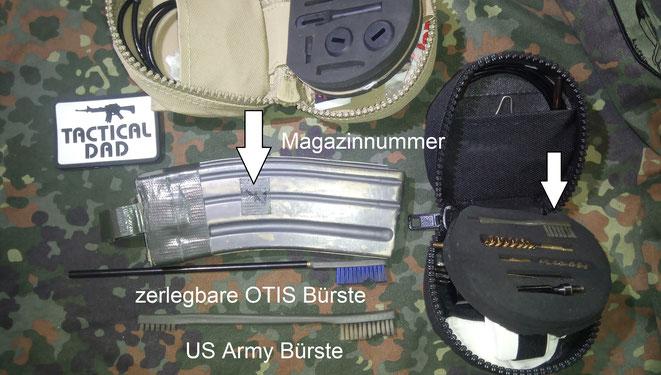 Nicht ohne Grund sind in vielen Waffenreinigungssets solche Bürsten drin. Sie helfen beim Reinigen der Waffe und der Magazingehäuse.
