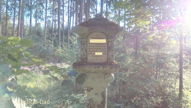 Ich hab schon wieder einen Gedenkstein für einen gestorbenen Jäger gefunden. Langsam bekomm ich richtig Angst bei mir im Wald...