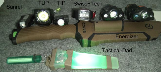 Fun Sunrei, Nitecore TUP, Nitecore TIP, Swiss+Tech Bodyguard, Energizer Tango, Energizer Night Strike im Vergleich.